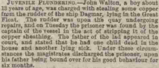 "News article summarising a Juvenile Plundering case in Birkenhead in 1865, discussing a boy John Walton ""about 13 years of age""."